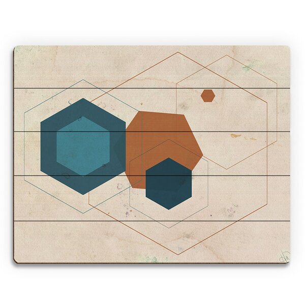 Cerulean Core Graphic Art on Plaque by Click Wall Art