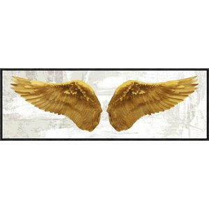 'Angel Wings' Oil Painting Printin Gold and White by East Urban Home
