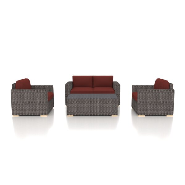Holcomb 4 Piece Rattan Sofa Seating Group with Sunbrella Cushions