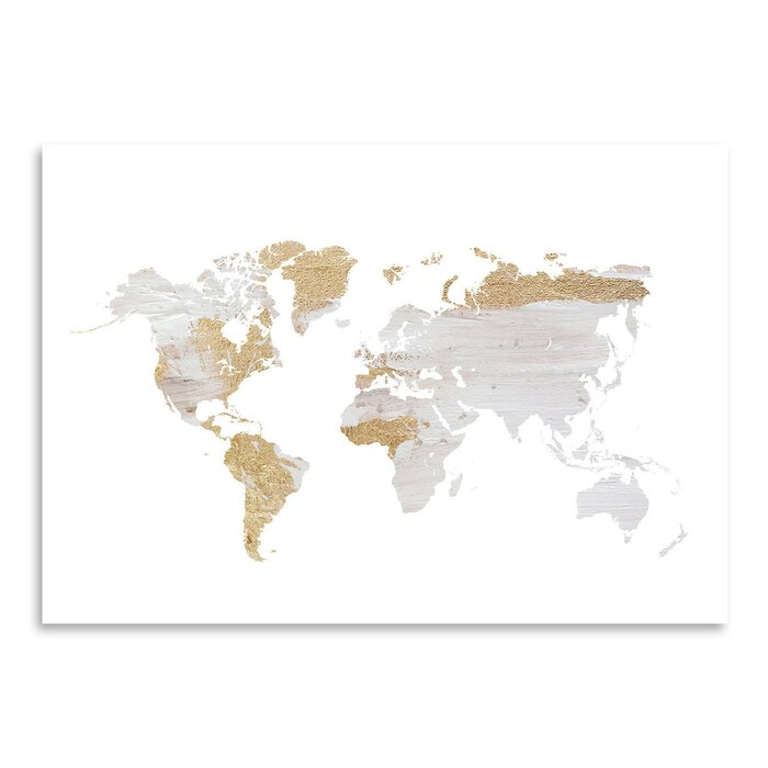 grey gold world map by ikonolexi framed graphic art print