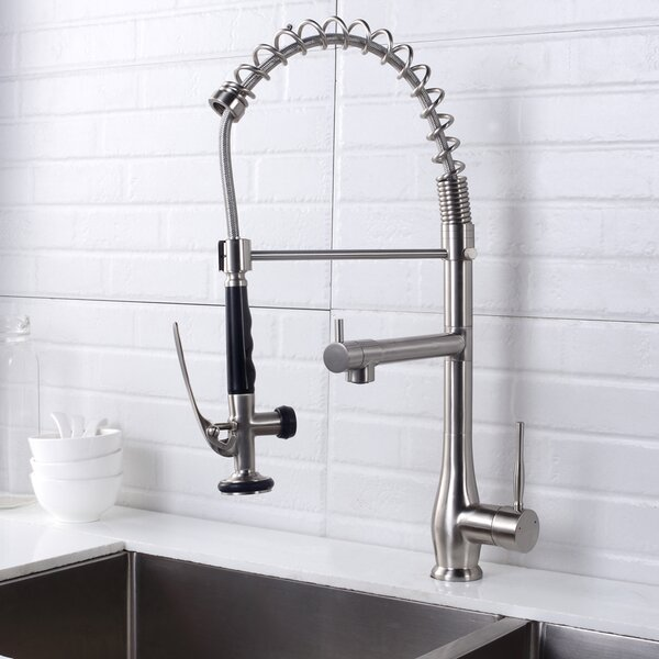 Pull Down Single Handle Kitchen Faucet with Lock Sprayer by Logmey Logmey