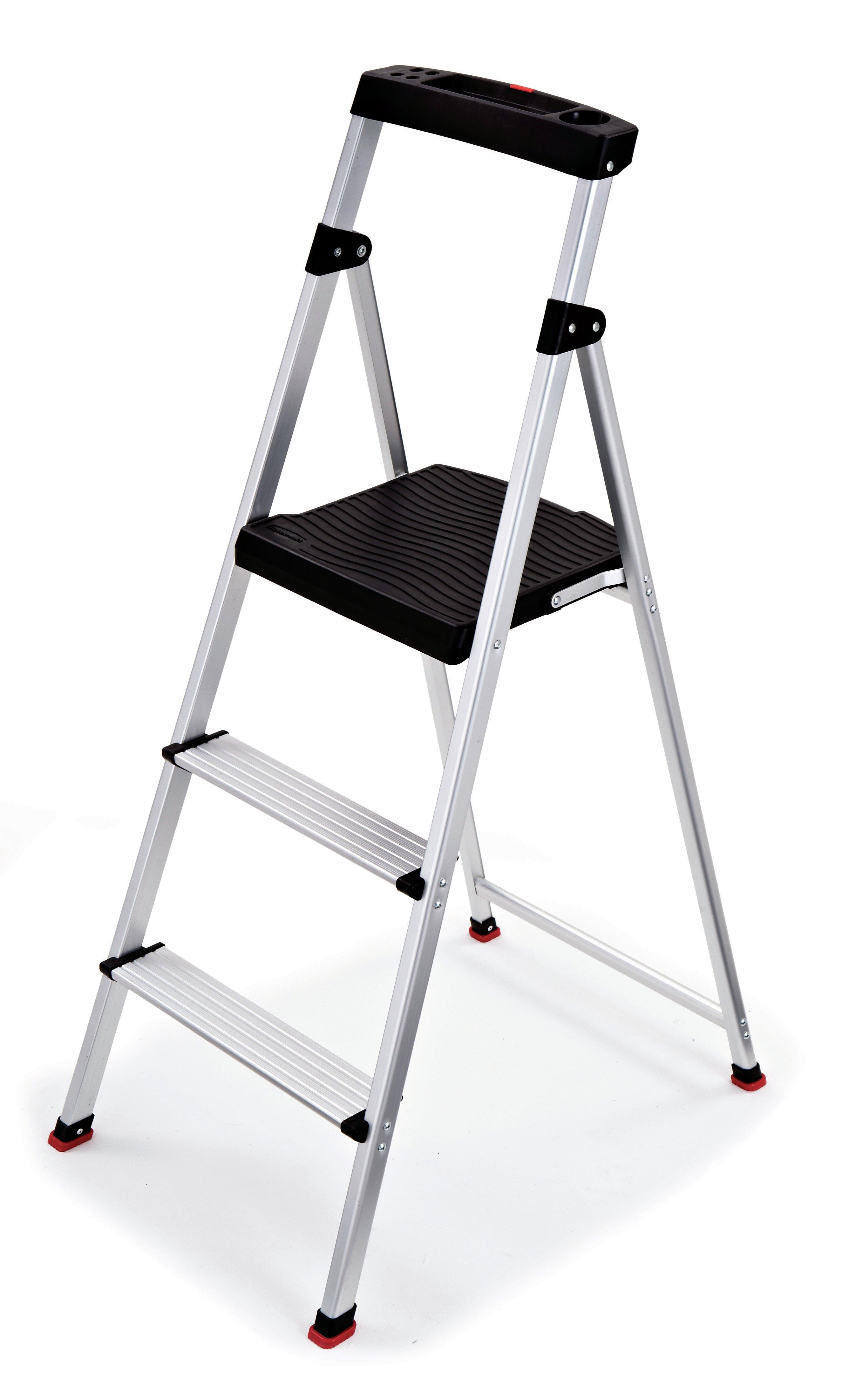 Astounding 3 Step Aluminum Step Stool With 225 Lb Load Capacity Evergreenethics Interior Chair Design Evergreenethicsorg