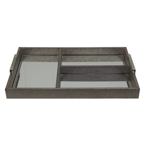 Chagrin Compartment Tray with Chrome Handle by Cheungs