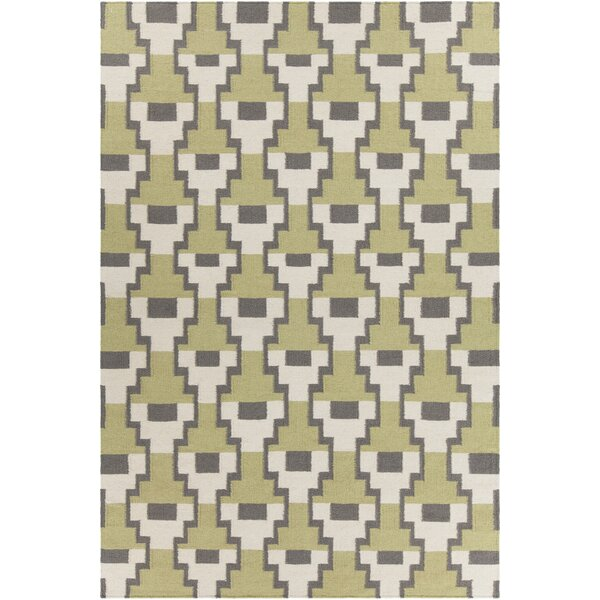 Charlene Textured Contemporary Green Area Rug by C