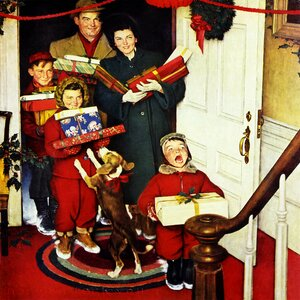 Merry Christmas, Grandma by Norman Rockwell Graphic Art on Wrapped Canvas by East Urban Home