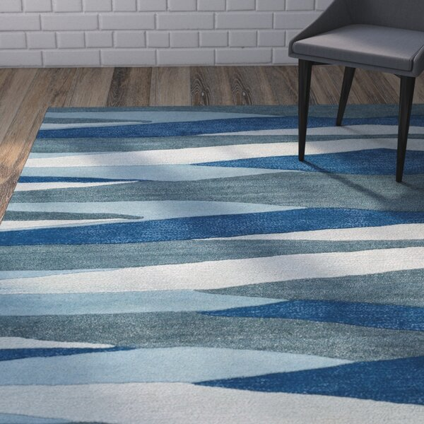 Melitta Hand-Tufted Bright Blue/Teal Area Rug by Ivy Bronx