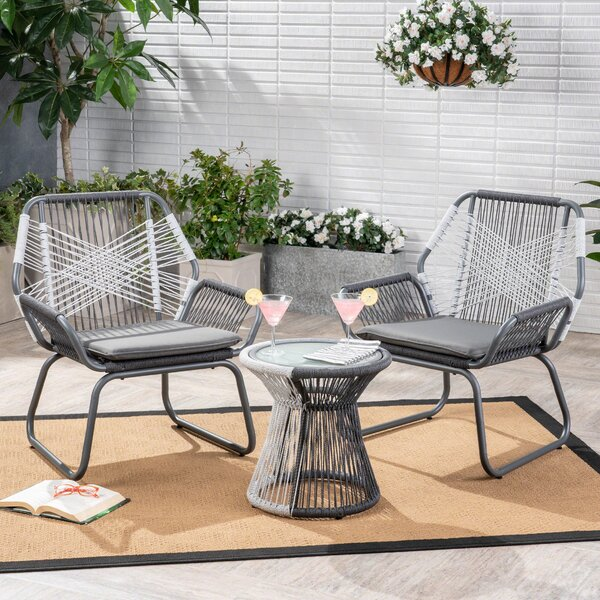 Duong Outdoor 3 Piece 2 Person Seating Group with Cushions by Wrought Studio