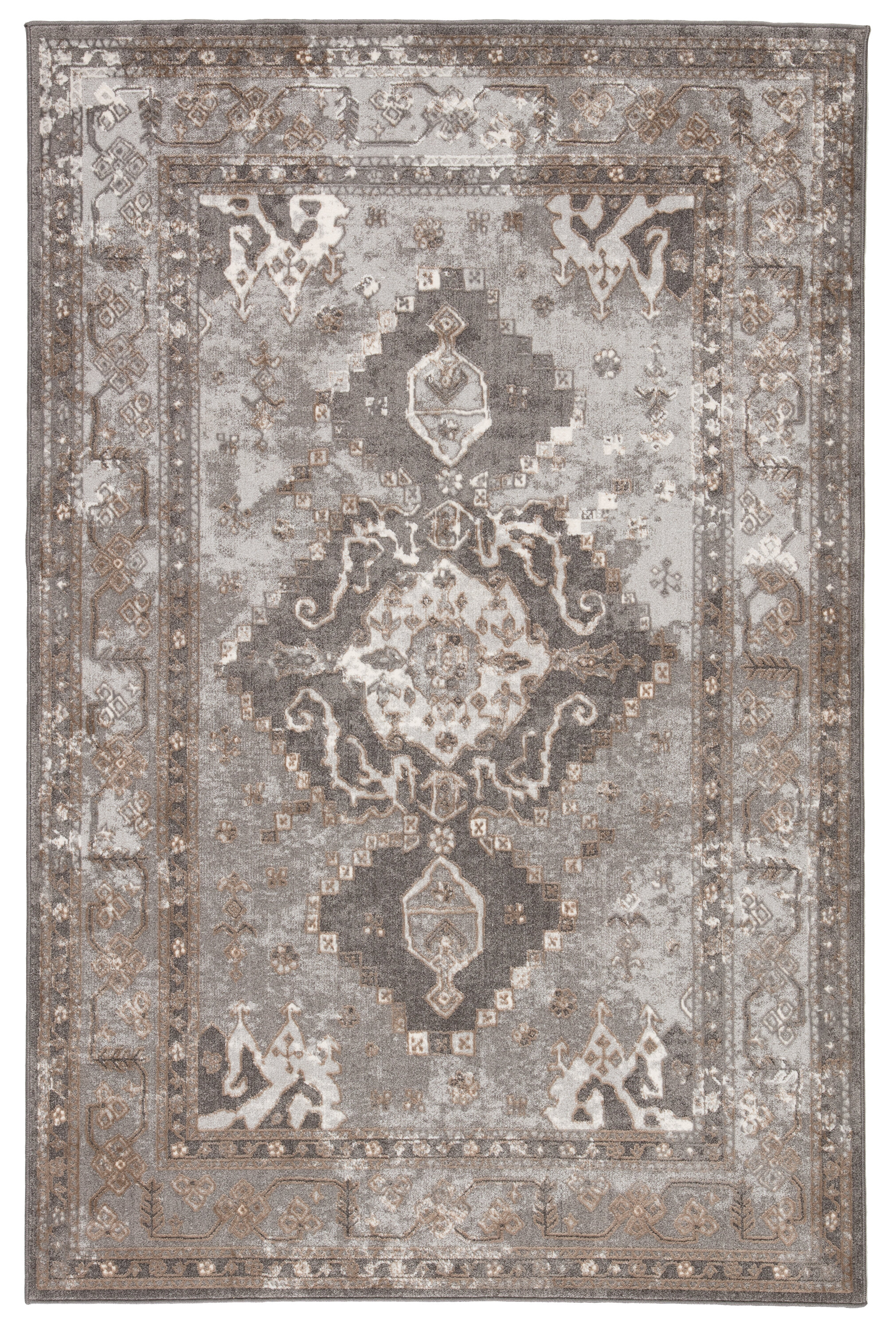 Kilwin Medallion Gray Tan Area Rug
