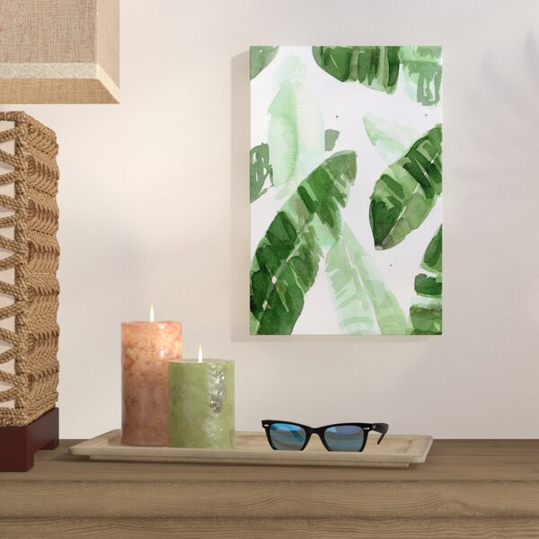 Tropical Leaves Painting Print on Wrapped Canvas by Bay Isle Home
