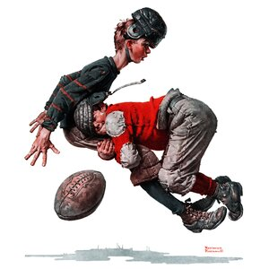 'Fumble' by Norman Rockwell Painting Print on Wrapped Canvas by Marmont Hill