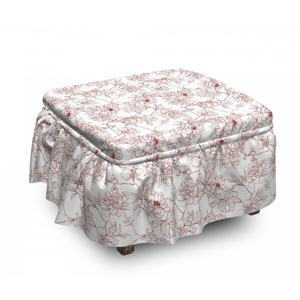 Rustic Peonies 2 Piece Box Cushion Ottoman Slipcover Set By East Urban Home