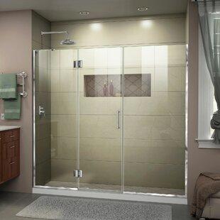 Unidoor-X 65 1/2-66 in. W x 72 in. H Frameless Hinged Shower Door By DreamLine