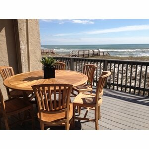 Bauman 7 Piece Teak Dining Set with Cushions by Darby Home Co