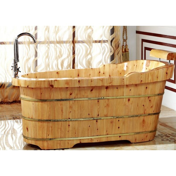 Cedar Wooden 61 x 29.5 Freestanding Soaking Bathtub by Alfi Brand