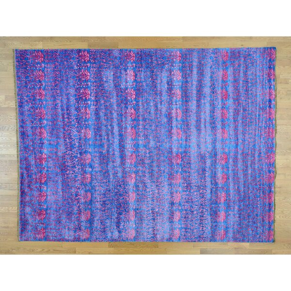 One-of-a-Kind Bean Denim Art Handwoven Blue Silk Area Rug by Isabelline