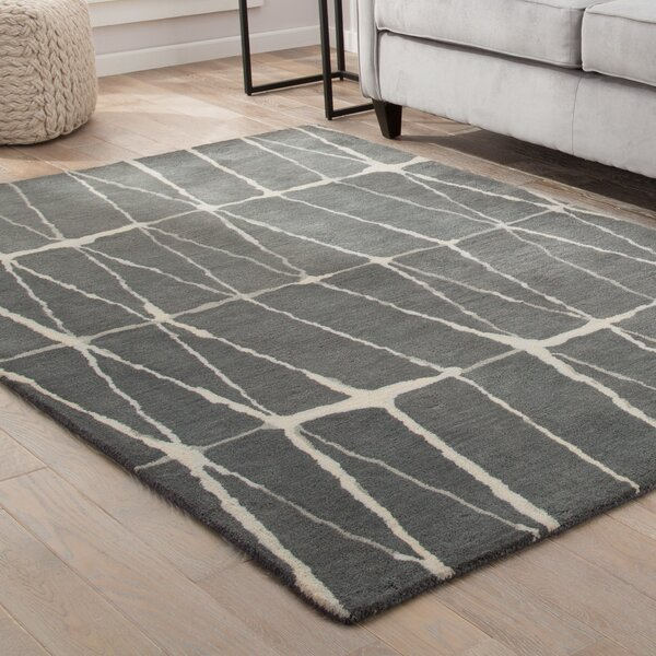 Heiss Hand-Tufted Gray/Cream Area Rug by Wrought Studio