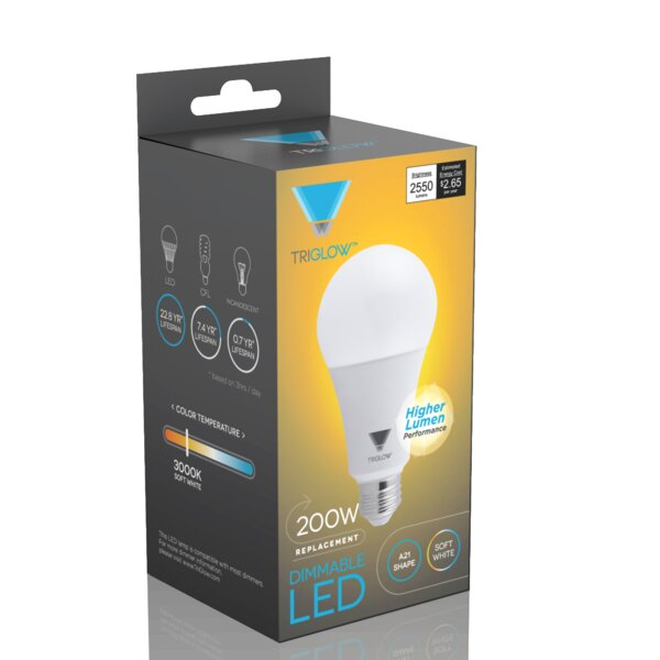 100W Equivalent E26 LED Standard Light Bulb (Set of 4) by TriGlow