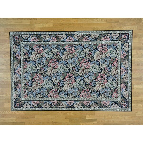 One-of-a-Kind Cazares Needlepoint Stitched Botanical Design Handwoven Black Wool Area Rug by Isabelline