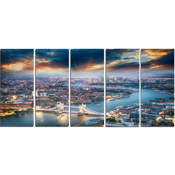 Aerial View of London at Dusk 5 Piece Photographic Print on Wrapped Canvas Set by Design Art