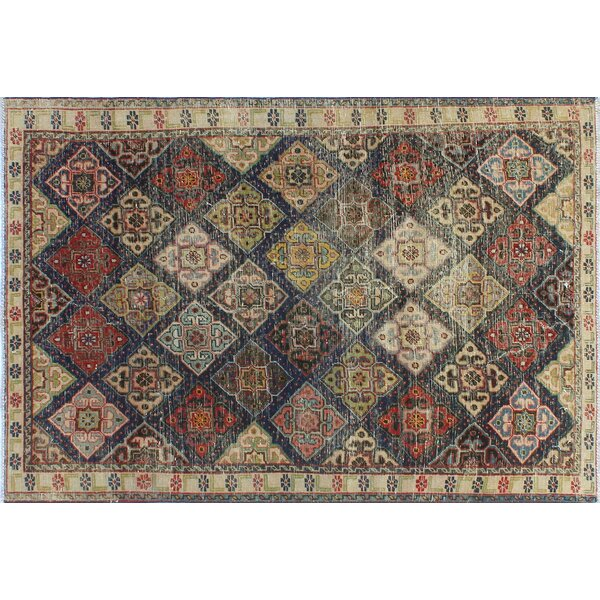 One-Of-A-Kind Brook Hand-Knotted Wool Cream/Black Area Rug by Isabelline