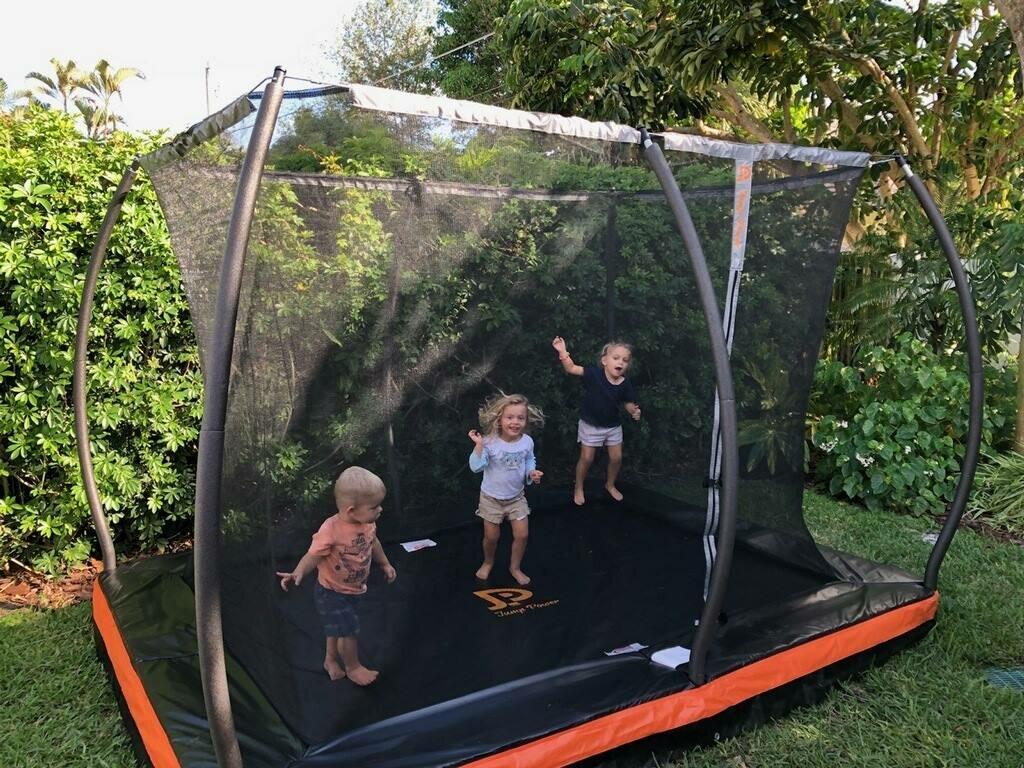 in ground trampoline. In-Ground 10\u0027 Rectangular Trampoline With Safety Enclosure In Ground S