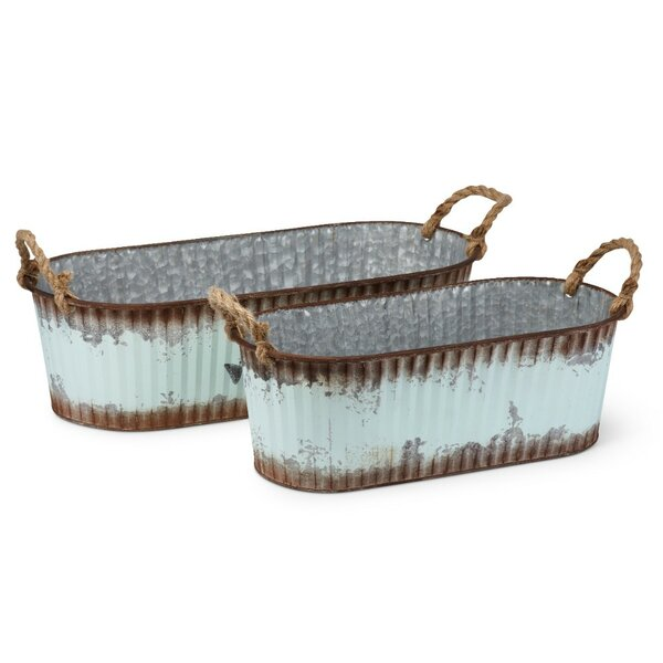 Homespun 3-Piece Galvanized Sheet Pot Planter Set (Set of 2) by Benzara