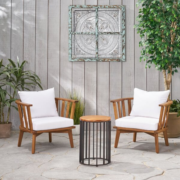 Reichard Outdoor 3 Piece Seating Group with Cushions by Highland Dunes