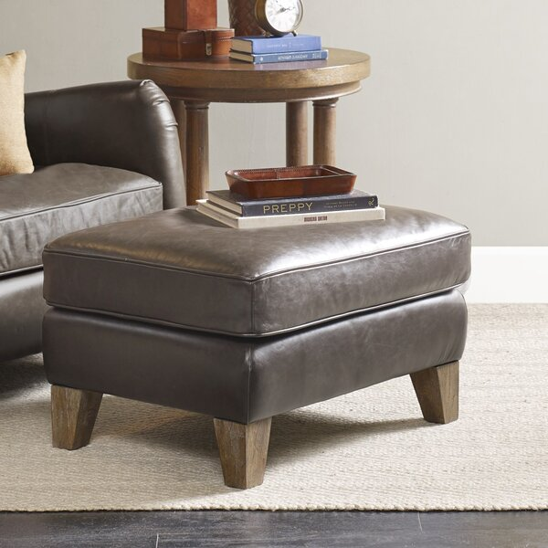 Donovan Leather Ottoman by Harbor House