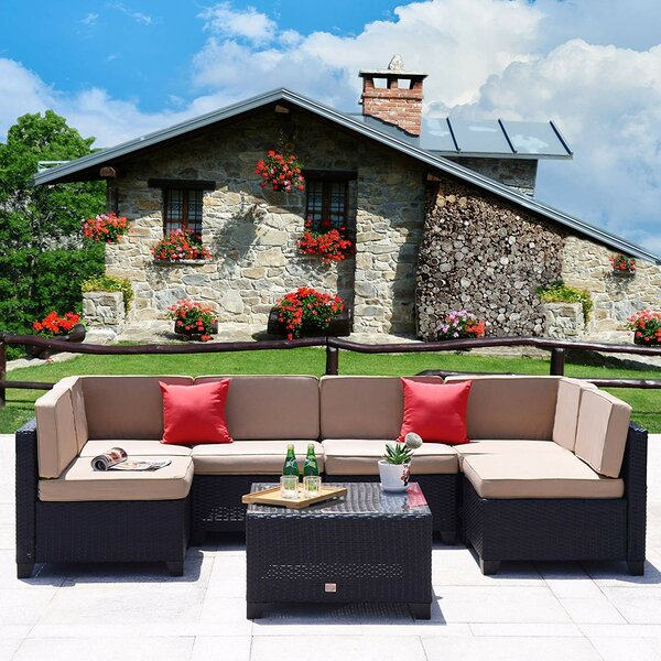 Deedee 7 Piece Sectional Seating Group with Cushions by Charlton Home