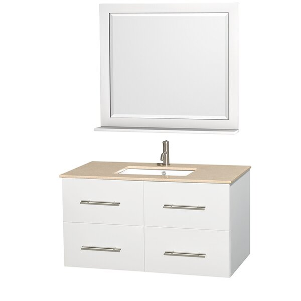 Centra 42 Single White Bathroom Vanity Set with Mirror by Wyndham Collection