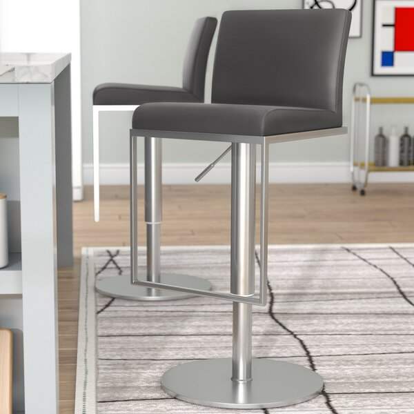 Blagg Adjustable Height Swivel Bar Stool by Wade Logan