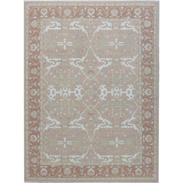 Oriental Hand-Knotted Cotton Rust Area Rug