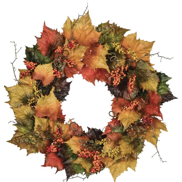 Autumn Grape and Leaf 30 Polyester Wreath by Fleur De Lis Living
