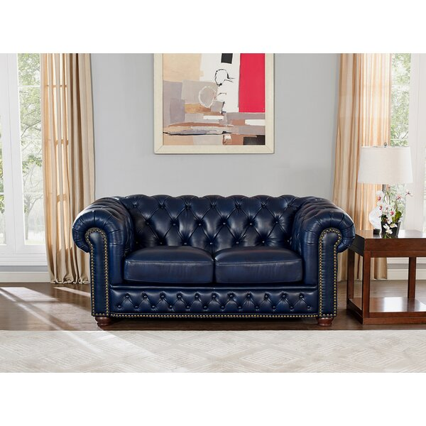 Excellent Brands Forsyth Leather Chesterfield Loveseat by Trent Austin Design by Trent Austin Design