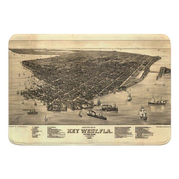 Nautical Chart Key West FL (1884) Vintage Bird's Eye View Rectangle Memory Foam Non-Slip Bath Rug