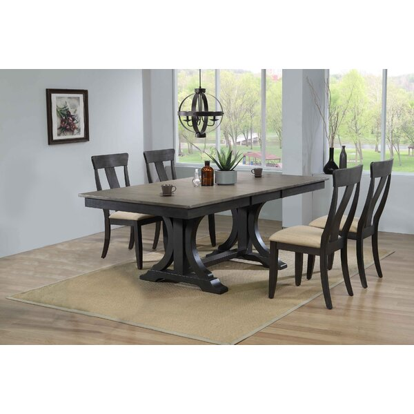 Geoghegan Double Pedestal Panel Back 5-Piece Solid Wood Dining Set By Gracie Oaks Looking for