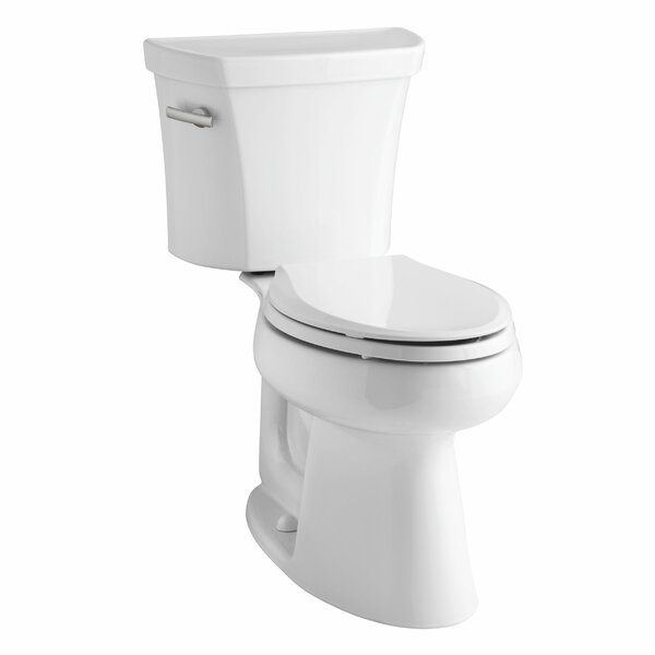 Highline Comfort Height Two-Piece Elongated 1.6 GPF Toilet with Class Five Flush Technology, Left-Hand Trip Lever and Tank Cover Locks by Kohler