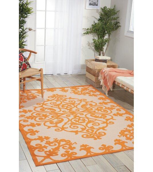 Farley Orange Indoor/Outdoor Area Rug by Beachcrest Home