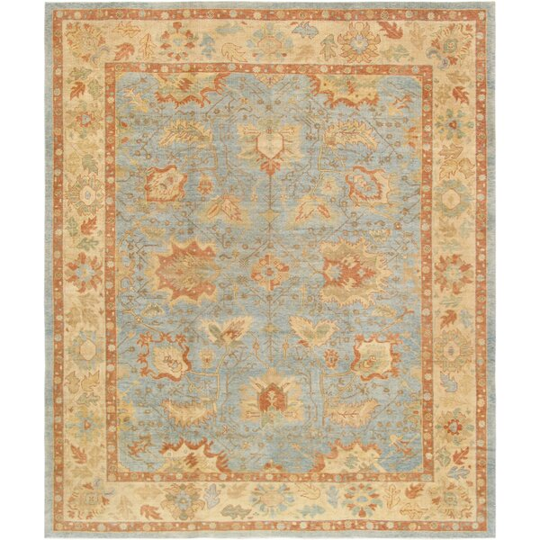 Oushak Hand-Knotted Wool Light Blue/Beige Area Rug by Pasargad