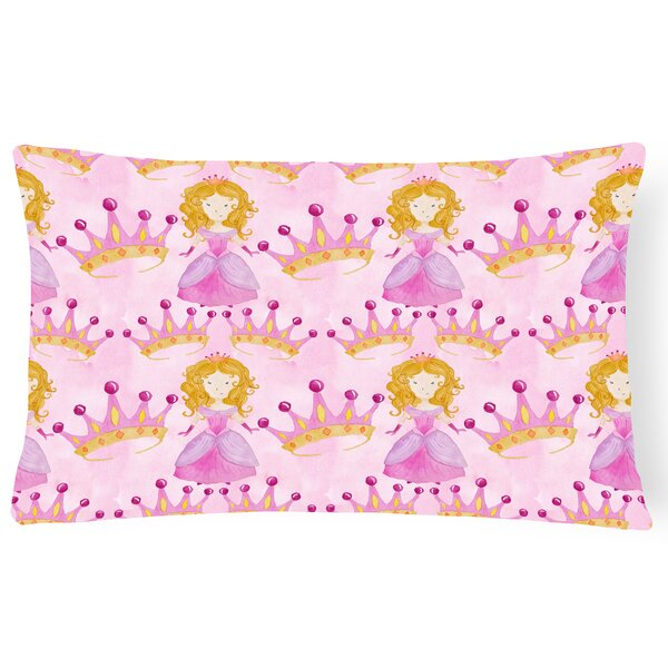 Tempest Watercolor Princess and Crown Indoor/Outdoor Throw Pillow by Zoomie Kids