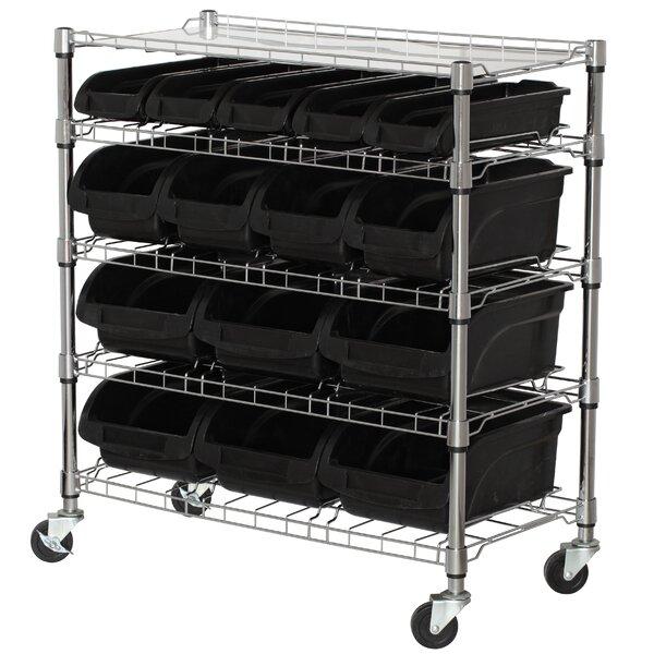 Mobile Bin Shelf with Bins by Sandusky Cabinets