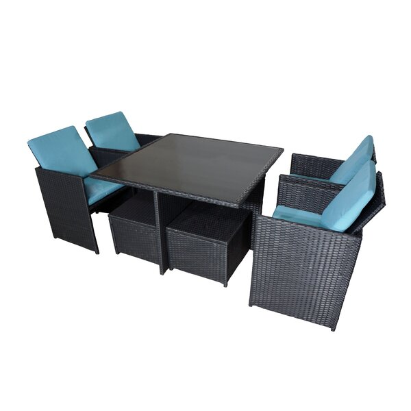 Dinah Wicker 9 Piece Dining Set by Latitude Run