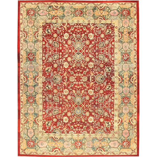 One-of-a-Kind Agra Hand-Knotted Before 1900 Agra Red 13'6 x 13'6 Wool Area Rug