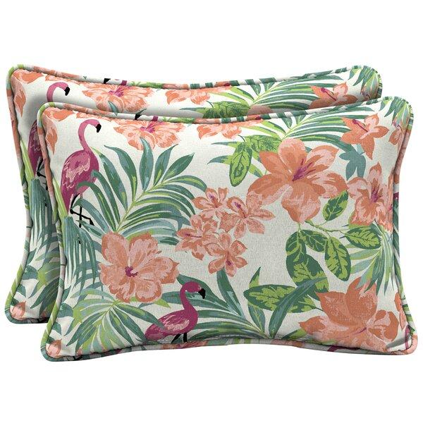 Kivett Tropical Outdoor Lumbar Pillow (Set of 2) by Bayou Breeze