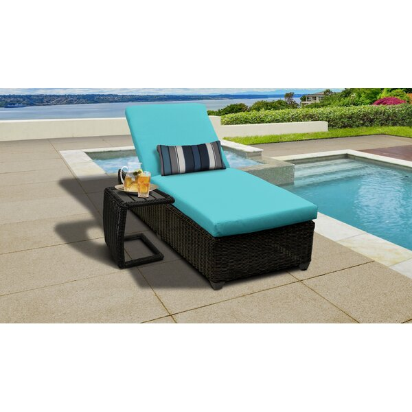 Fairfield Reclining Chaise Lounge with Cushions and Table