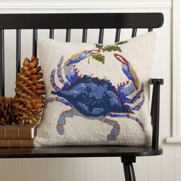 Mistletoe Blue Crab Hooked Pillow by Birch Lane™