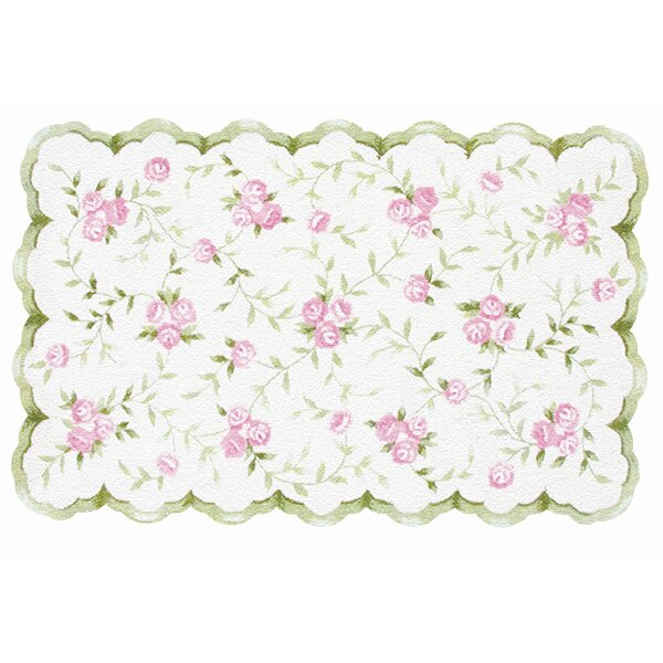 Hand-Hooked Pink/White Kids Rug by The Conestoga Trading Co.