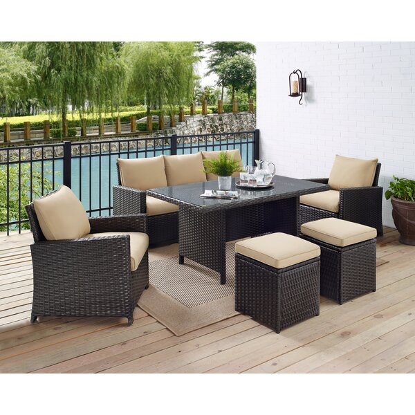 Zeringue 6 Piece Rattan Sofa Seating Group with Cushions