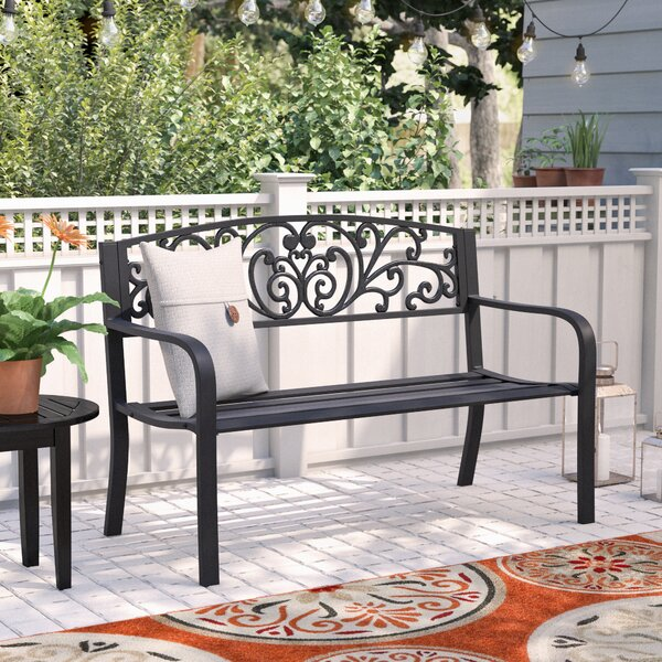 Brighton Blossoming Decorative Metal Garden Bench by Andover Mills