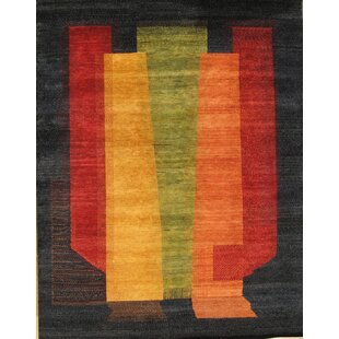 Check Prices Gabbeh Tribal Art Lamb's Wool Black Area Rug By Pasargad